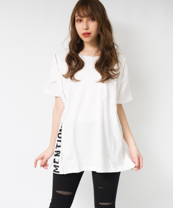 ZIP英文字刺繍クルーTシャツ